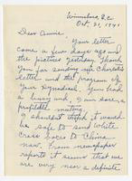 Letter to Annie Graham King from Carrie B. Dunlap, October 31, 1941.