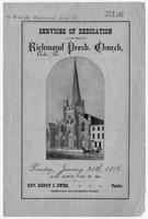 Services of Dedication of the Richmond Presbyterian Church.