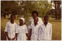 Marsha Snulligan Haney with baptism candidates.