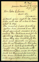 Letter to J.C. Lowrie from Peter Dougherty, Somers, Kenosha County, Wisconsin, August 2, 1880.
